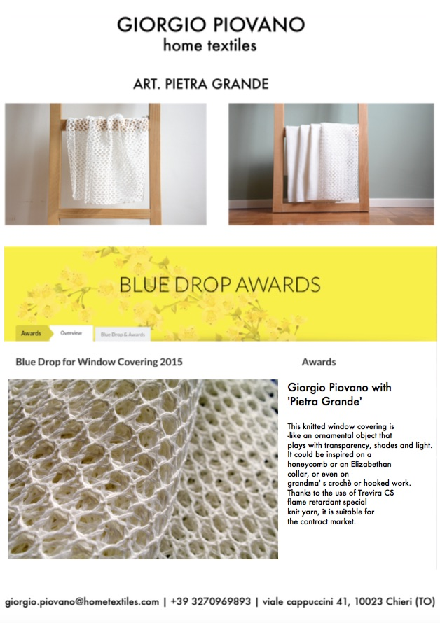 MoOD Blue Drop of Innovation - Awards 2015 Nomination for Window Covering